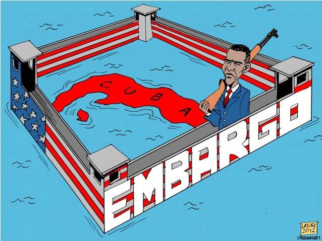 embargo on cuba cartoon
